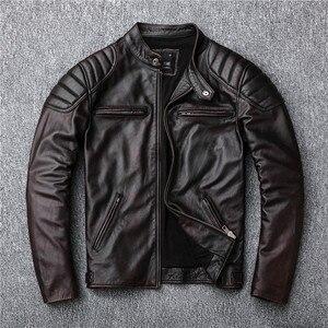 Image 4 - Bezpłatna wysyłka, marka vintage kurtka z prawdziwej skóry. Mężczyzna brązowy motor biker skóry wołowej płaszcz. slim kurtki w dużych rozmiarach. outwear sprzedaży