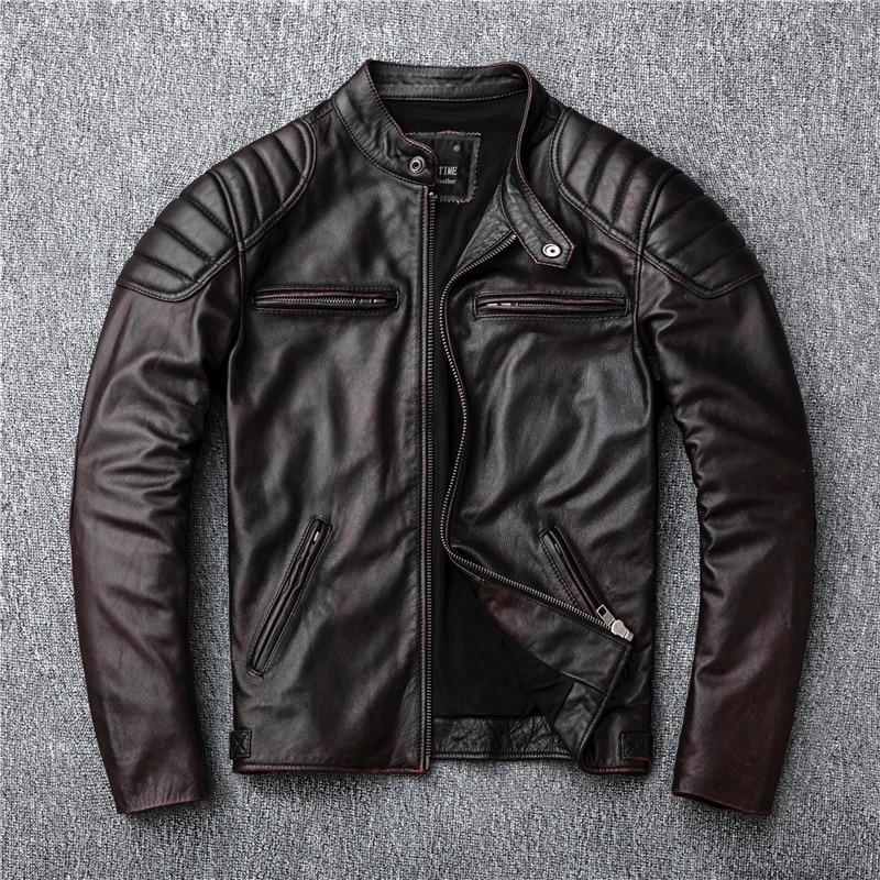 Image 4 - Free shipping,Brand vintage genuine leather jacket.mens brown motor biker cowhide coat.slim plus size jackets.outwear salesgloves militarybrand glovesgloves brand -