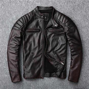 送料無料、ブランドのヴィンテージ本革 jacket. メンズブラウンモーターバイカー牛革コート。スリムプラスサイズジャケット。生き抜く販売