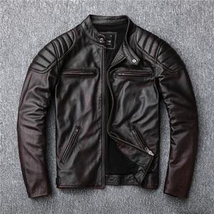 Image 4 - משלוח חינם, מותג בציר אמיתי עור מעיל. mens חום מנוע biker עור פרה מעיל. רזה בתוספת גודל מעילים. להאריך ימים יותר מכירות