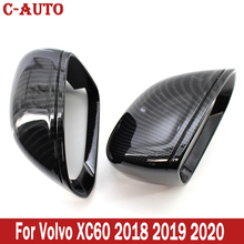 C Auto Carbon Fiber Textured Side Door Wing Rearview Mirror Guard Cover For Volvo XC60 2018 2019 2020 Car styling