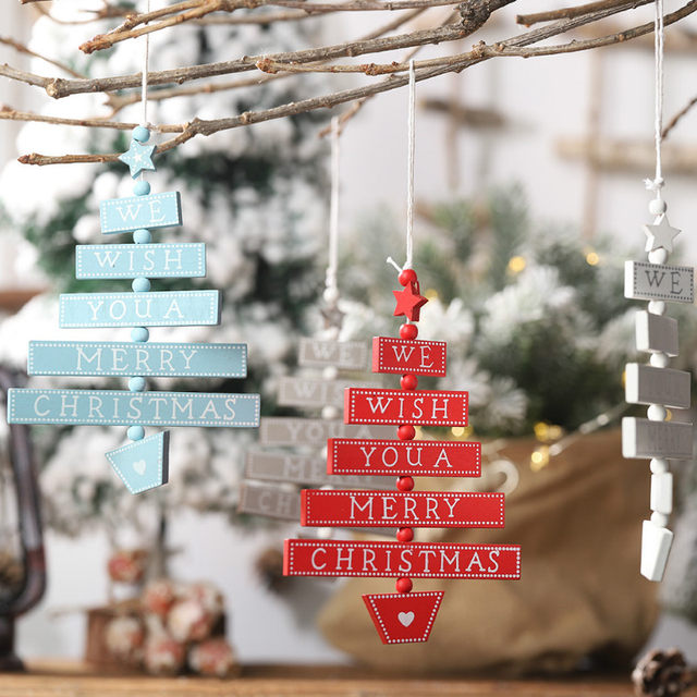 2020 Xmas Letters Elk Tree Wooden Sign Christmas Decoration for Home Pendant Hanging Ornament New 16
