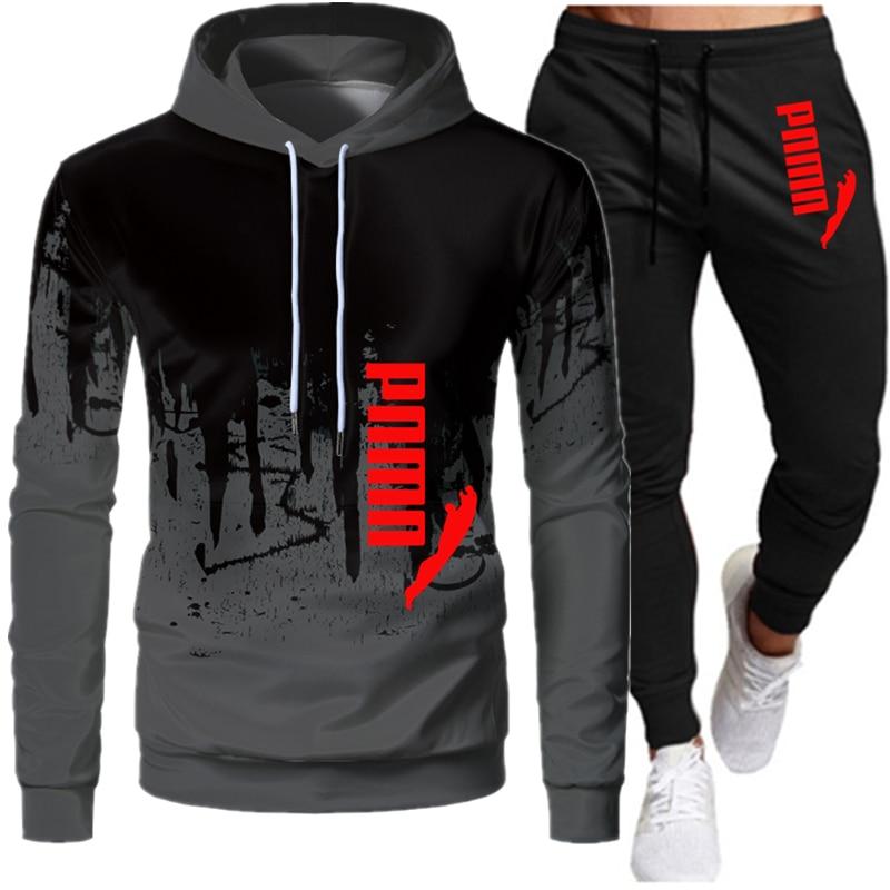 2020 Повседневная Спортивная одежда для мужчин, 2 предмета, толстовка с капюшоном, Весенняя Мужская одежда, пуловер с капюшоном, штаны, костюм