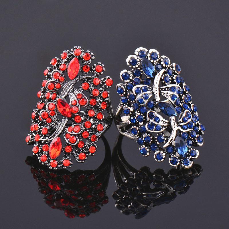 LEEKER Women Vintage Hollow Dragonfly Rings With Shiny Red Cubic Zirconia Female Sexy Ring Black Color Animal Jewelry 565 LK10 4