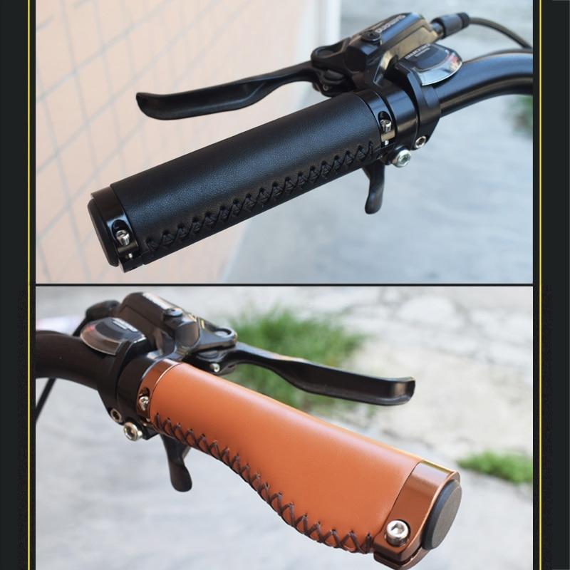 1 Pair MTB Road Bike Bicycle Cowhide Leather Handlebar Grip 22.2mm Cycling Tool