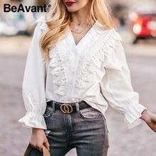 BeAvant high fashion white tops and blouse women 2020 lace long sleeve v neck se