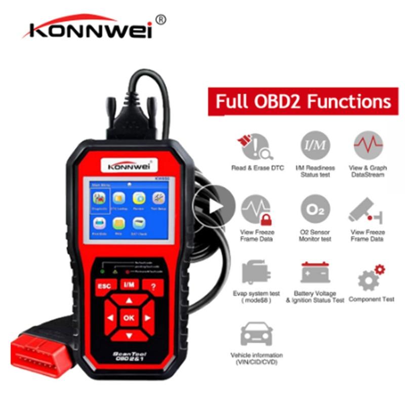 KONNWEI KW850 outil de Diagnostic de voiture complet OBD2 KW 850 OBDII Scanner automatique PK AD410 NT301 mise à jour outil de Scanner de Diagnostic automatique gratuit