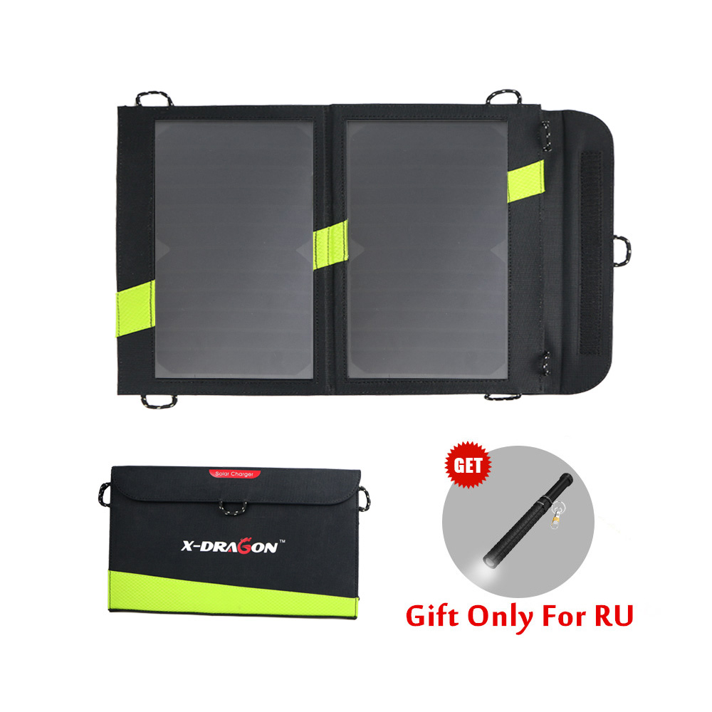 14W Solar Charger 5V 3A Dual USB Solar Panel Foldable Waterproof Power Bank for Smartphone