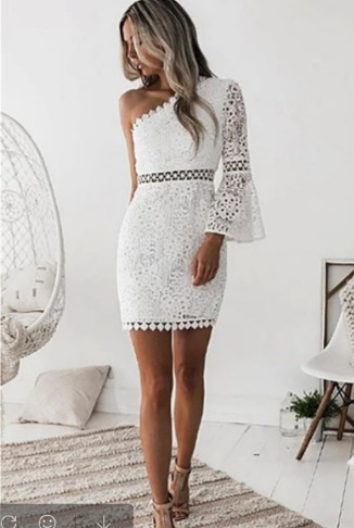 Grosfairy Evening Party Gown Dress 2021 New Lady Sexy One Shoulder Short Pencil Women Casual White Skirt Fashion Elegant