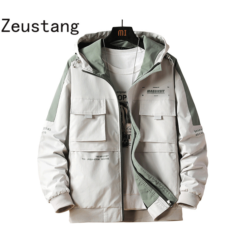 Zeustang 2020 Jacket Men Arrival Casual Solid Hooded Jackets Mens Fashion Zipper Outwear Slim Fit Spring Autumn Clothing J131