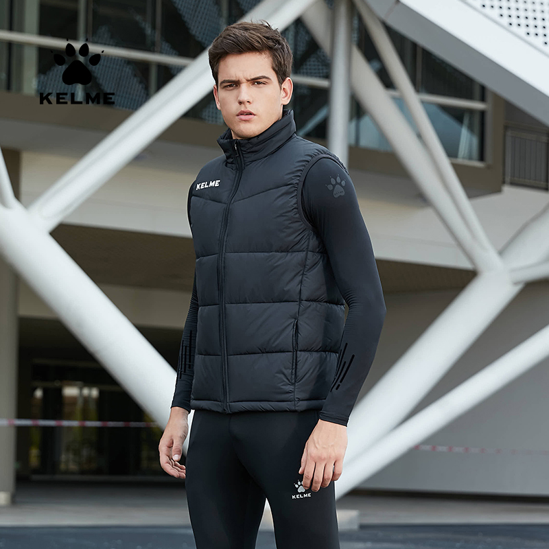 KELME Men's Winter Jacket Sports Vest Jacket Sleeveless Coat Outerwear Cotton Training Vest  Jacket Windproof Warm K15P022-2