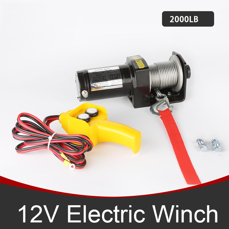 DC 12V Car Electric Winch <font><b>2000lb</b></font> Load Capacity ATV Trailer Truck 12m Winching Cable Permanent Magnet,0.7kw/1.0hp image