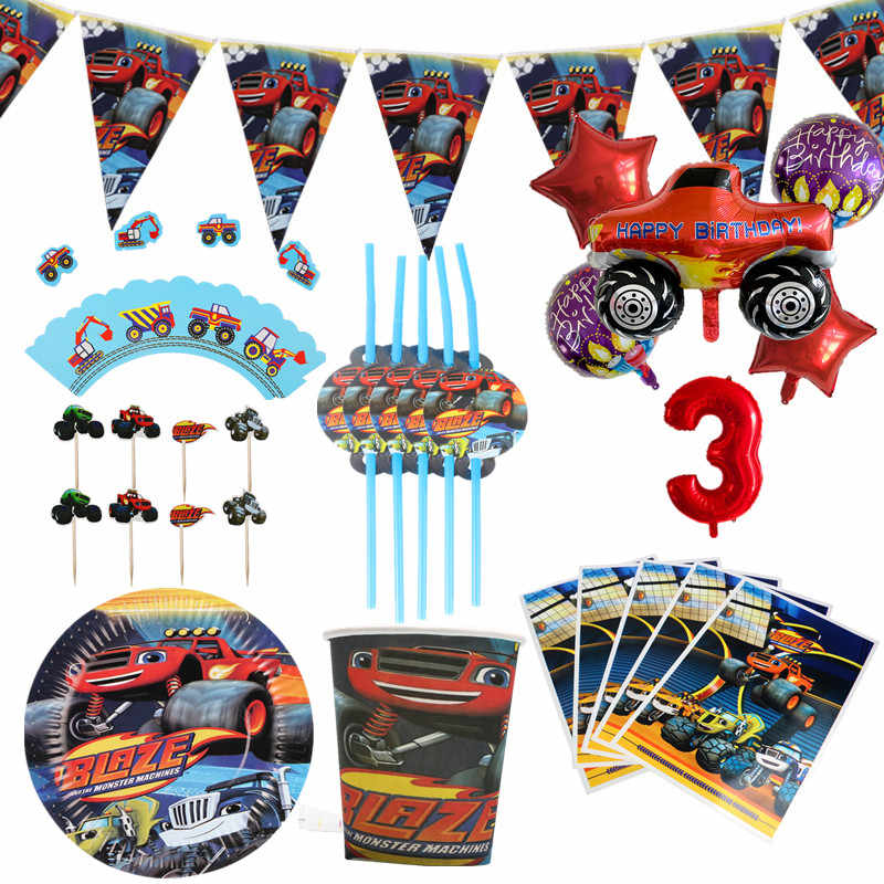 Blaze Monster Machines Thema Papier Cups Platen Verjaardagsfeestje Servetten Cake Toppers Jongens Baby Shower Decoraties Feestartikelen