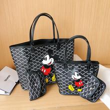 Disney Mickey Mouse pojemna torba cartoon lady PU wodoodporna torba na ramię torba na pieluchy Crossbody tanie tanio Płótno canvas WOMEN Torby na zakupy Zipper hasp 45cm 200529-5 Moda