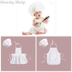 Детский комплект для маленьких мальчиков и девочек: шляпа шеф-повара для фотосессии + комплект одежды для новорожденных аксессуары для фото...