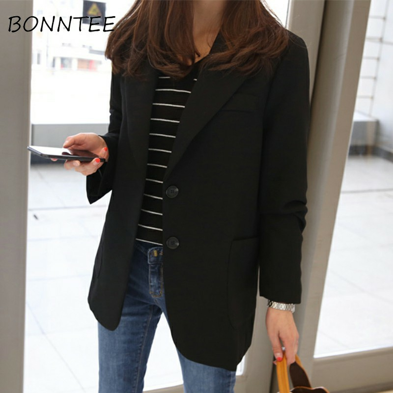 Blazers Women Solid Single Breasted Office Ladies Elegant Slim Coat Korean Style Womens Long Sleeve Outwear Chic Fashion Soft