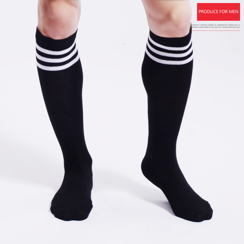 Unisex Men Socks Black White Striped Sport Socks Comfortable Cotton Striped Socks Black Men's Socks
