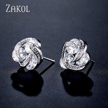 ZAKOL Cute Geometric Revolving Clear Cubic Zirconia Stud Earrings for Women Fashion Round CZ Ear Jewelry Christmas Gift FSEP2310