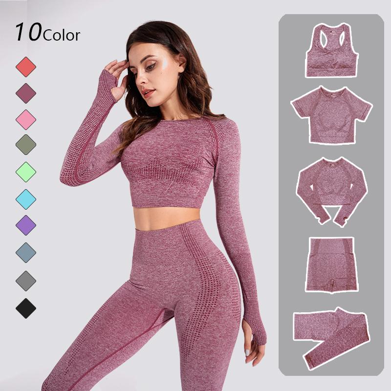 2/3PCS Seamless Women Yoga Set Workout Sportswear Gym Clothing Fitness Long Sleeve Crop Top High Waist Leggings Sports Suits