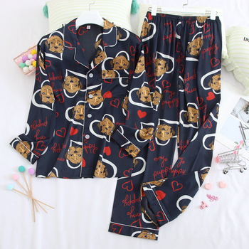 Sleep Suit Lovers' Thin Nightgown Intimate Lingerie Summer New Pajamas Satin Silky Couple Home Clothes Set Cute Cartoon Pyjamas cute cartoon style couple lovers keychain silver pair