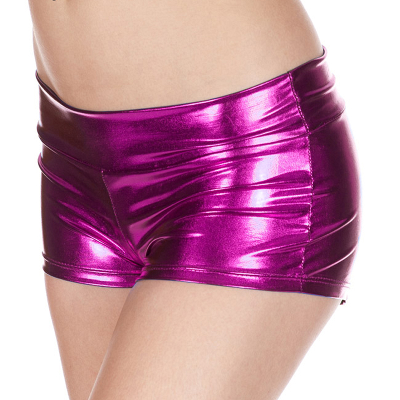 Candy Color PU Leather Wetlook Pole Dance Night Clubwear Hot Sexy Micro Mini Short Shiny Booty Biker Shorts Low Waist Bermudas