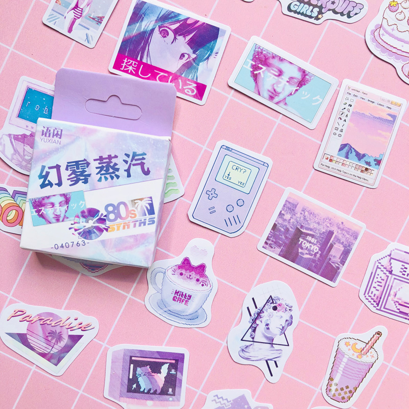 50 Pcs /Box Purple Style Dream Magic 80's Memories Decorative Paper Stickers Decoration