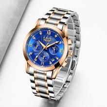 Часы lige женские с браслетом креативные водонепроницаемые золотистые
