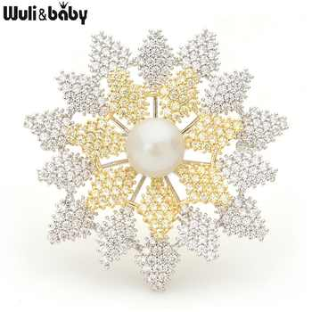 Wuli&baby Luxury Cubic Zircon Snowflake Brooches Women Pearl Sparkling Flower Banquet Weddings Brooch Pins New Year Gifts - DISCOUNT ITEM  25% OFF All Category