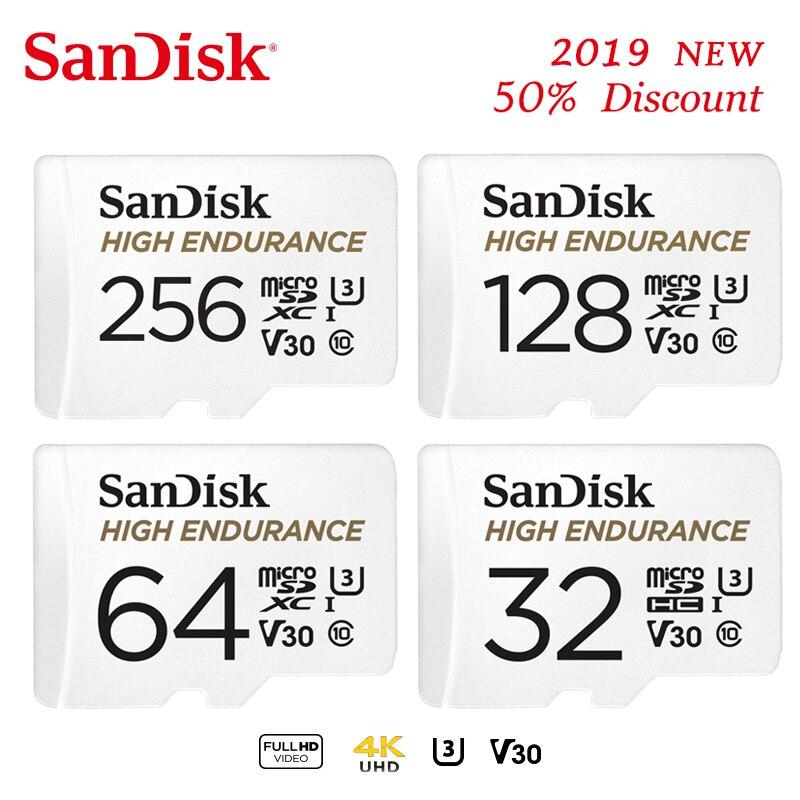 Cartão de memória do microsd da resistência alta de sandisk 128gb 256gb microsdxc cartao de memoria 64gb 32gb microsdhc c10 v30 u3 4 k