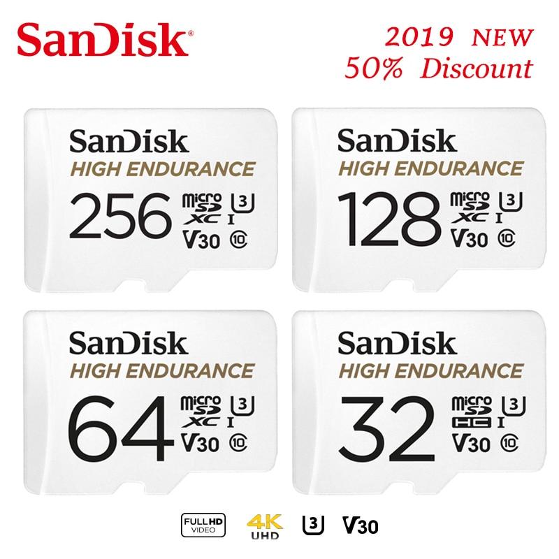 SanDisk de alta resistencia tarjeta microSD de 128gb 256GB microSDXC cartao de memoria de 32gb 64gb microSDHC C10 V30 U3 4K de tarjeta de memoria