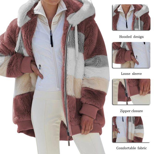 2021 Oversized Winter Women Jacket Fashion Plush Patchwork Zipper Pocket Hooded Jacket Retro Loose Long Sleeve Women's Coat 6