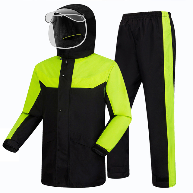Adult Motorcycle Raincoat Rain Pants Suit Men Waterproof Rain Coat Jacket Split Mens Sports Suits Casaco Masculino Rain Gear 2