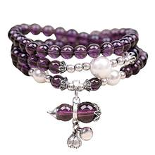Women Faux Amethyst Beads Gourd Charm Bracelet Necklace For Women Choker Necklace Good Luck Jewelry Accessories Gifts(China)