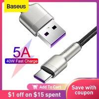 Baseus – Câble USB type C 5A de charge rapide, QC3.0, pour Xiaomi 9 Huawei P40 Pro P30 Mate 30 Pro,