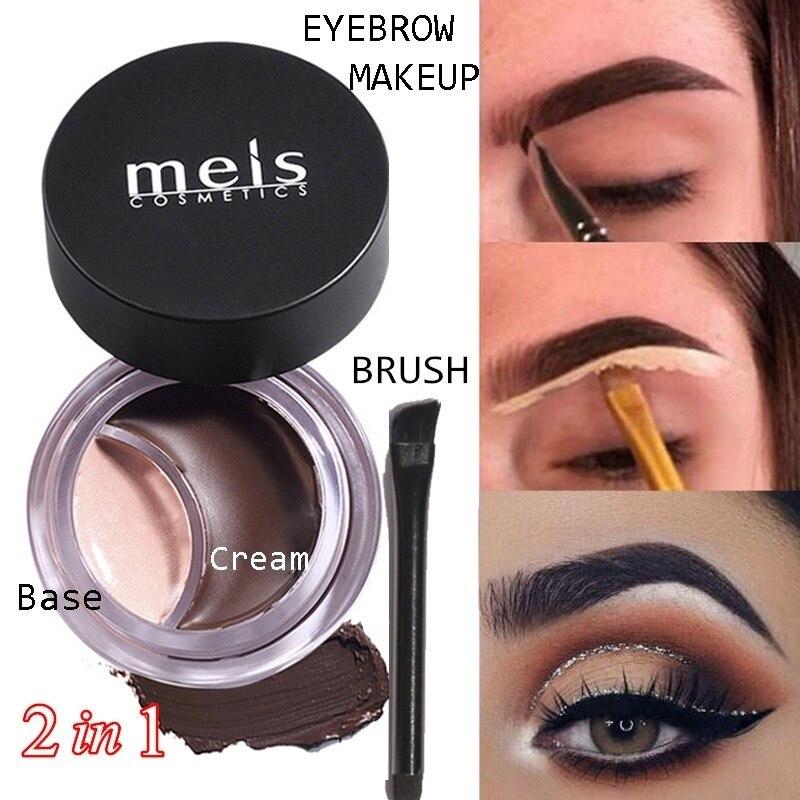 EyeBrow Gel Gream Concealer Base With Brush Set Waterproof Eyebrow Enhancers Makeup Black Brown Eye Brow Tint Pomade 2 In 1 Kit