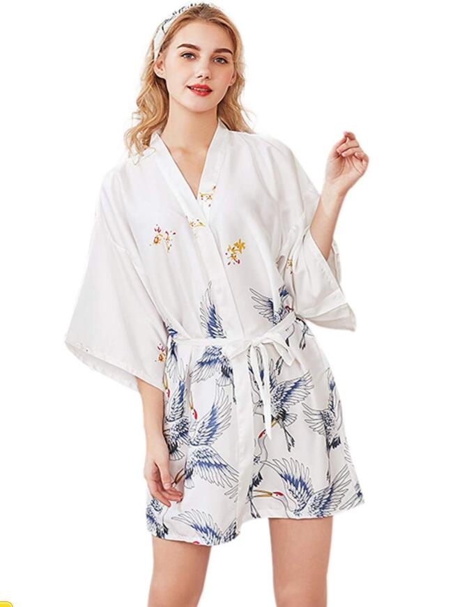 Sexy Flower Women Satin Robe Bride Bridesmaid Wedding Robe Dressing Gown Nightgown Sleepwear Lingerie Kimono Bathrobe M L XL XXL