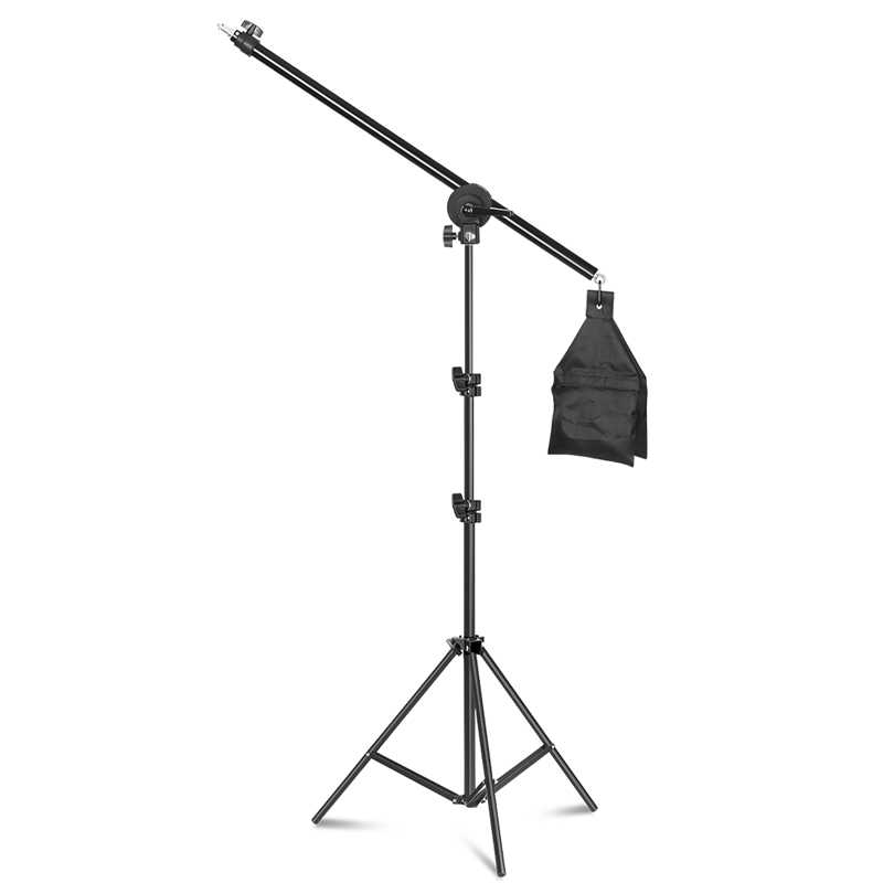 54inch/137cm Rotatable Aluminum Adjustable Tripod Boom With 2m Light Stand With Sandbag For Studio Photography Video
