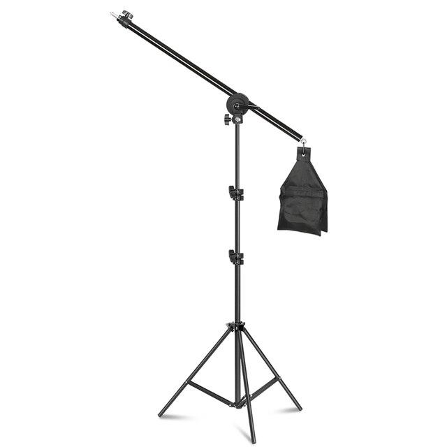 Rotatable Aluminum Adjustable Tripod Boom With 2m Light Stand Sandbag for Studio Photography Video