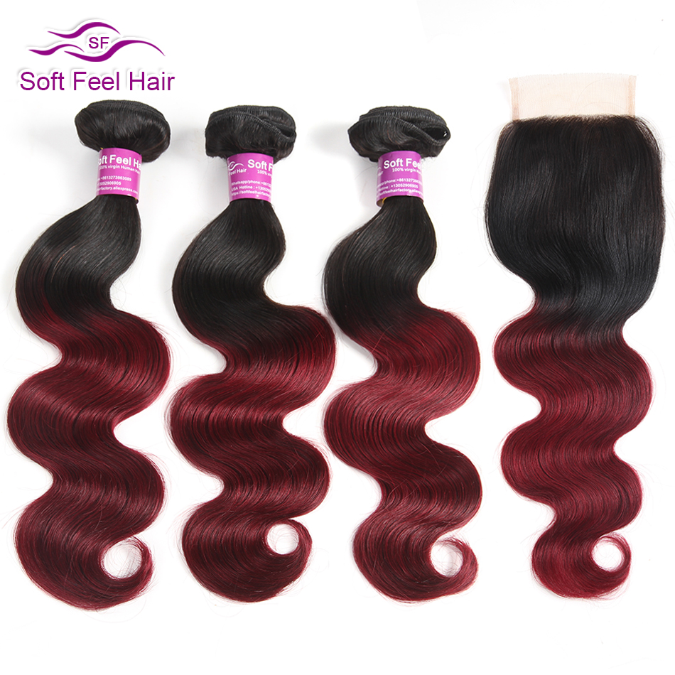 Soft Feel Hair Brazilian Hair Weave Bundles With Closure Body Wave 3/4 Bundles With Closure Remy Human Hair Bundles With Closure