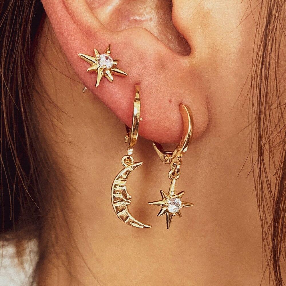 Серьги-кольца из нержавеющей стали женские, висячие ювелирные украшения для ушей в форме звезды, месяца, бижутерия