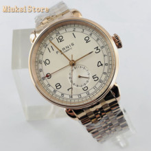 Parnis 2019 new top mens automatic mechanical watch 42mm rose gold GMT arab mark date window Stainless steel strap mens watches