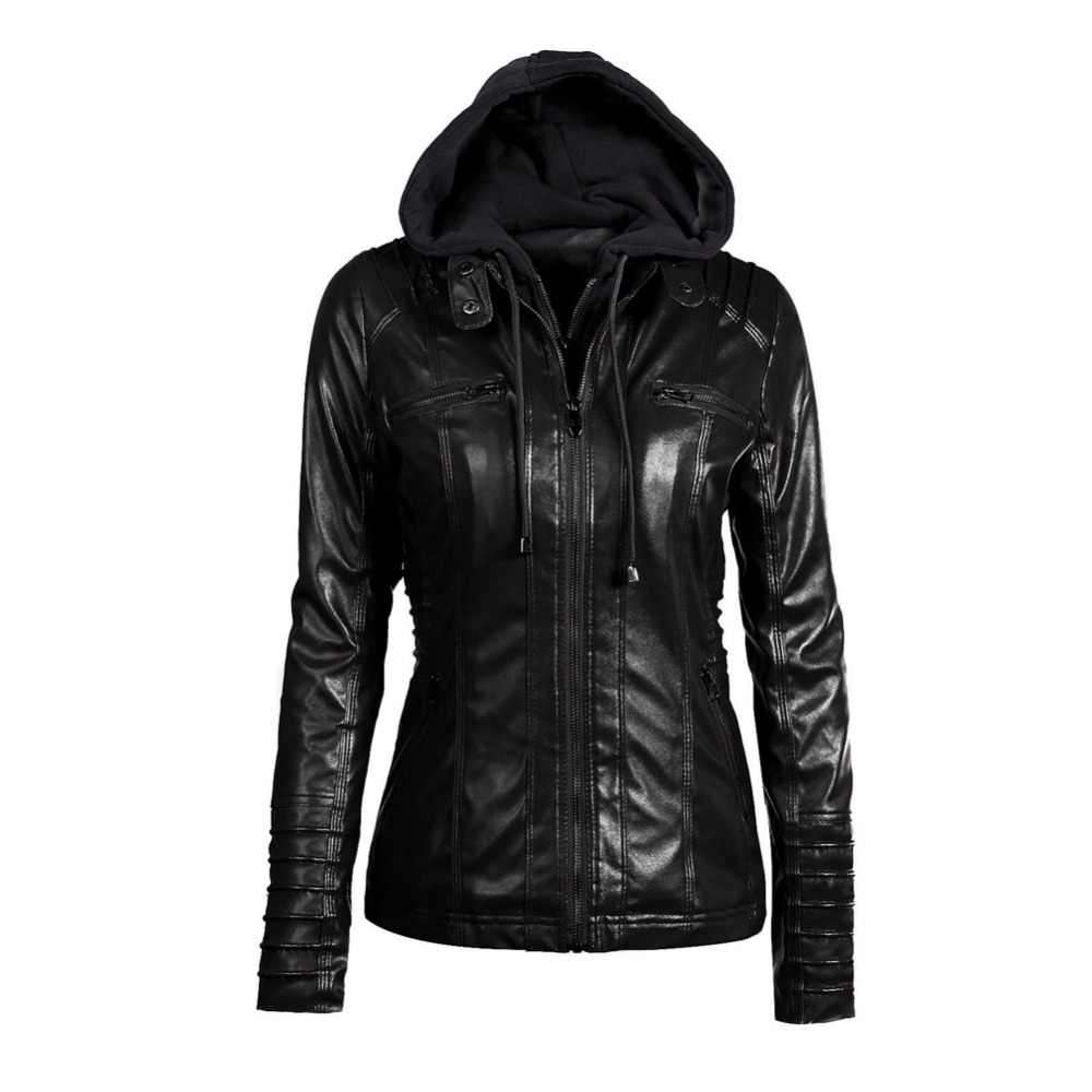 Gothic Faux Leather Jacket Women Hoodies Winter Autumn Motorcycle Jacket Black Outerwear Faux Leather PU Jacket  Coat HOT