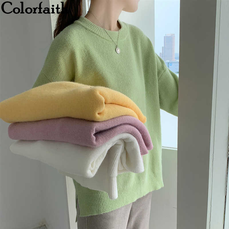 Colorfaith New 2019 Autumn Winter Women's Sweaters Casual Minimalist Tops Fashionable Korean Style Knitting Loose Ladies SW851