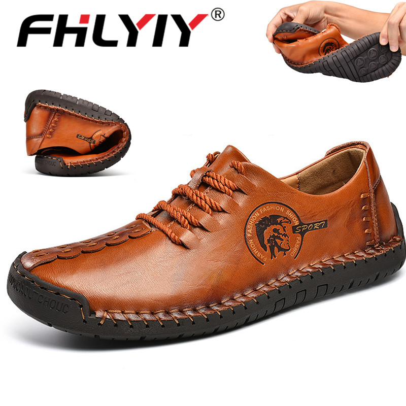 Fhlyiy Brand Casual Leather Shoes Men New Hot Sale Mens Loafers Leather Handmade Shoes Spring Man Footwear High Quality Shoes