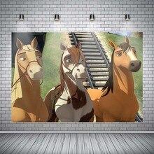 8x12 FT Vinyl Photography Backdrop,Different Kind of Nostalgic Gentle Horses on Calligraphic Vintage Styled Background Background for Child Baby Shower Photo Studio Prop Photobooth Photoshoot