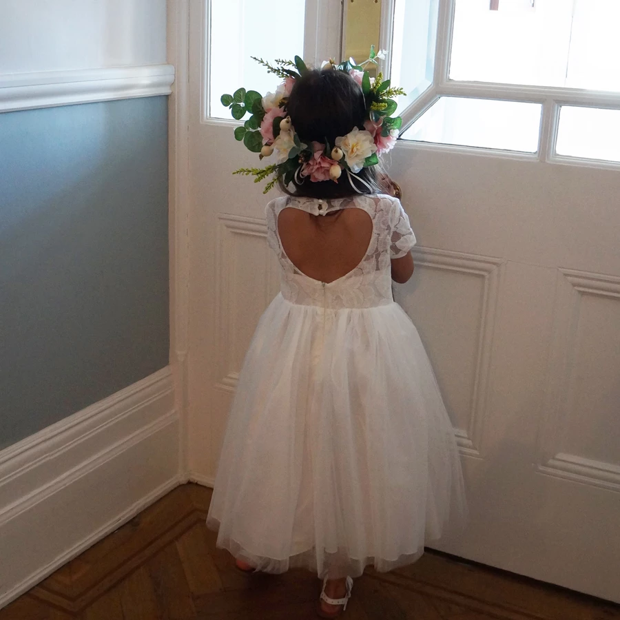 Vestidos De Comunion 2020 Flower Girl Dresses Tulle Lace Communion Dresses Short Sleeves Party Dress