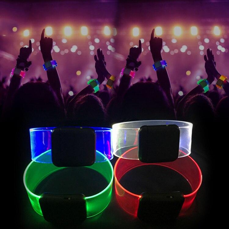 BOLEDENGYE 2019 Led Dance Led Light Up Toys Glow Happy Bracelet Flashing Wrist Band Toy Christmas Festival Event Party Supplies