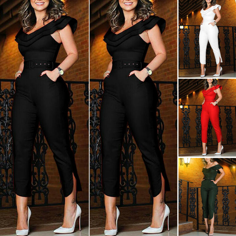 Fashion Women Off Shoulder Bodycon Long Jumpsuit Retro Belt Romper Clubwear Summer Sleeveless Solid One Piece Clothing 2020