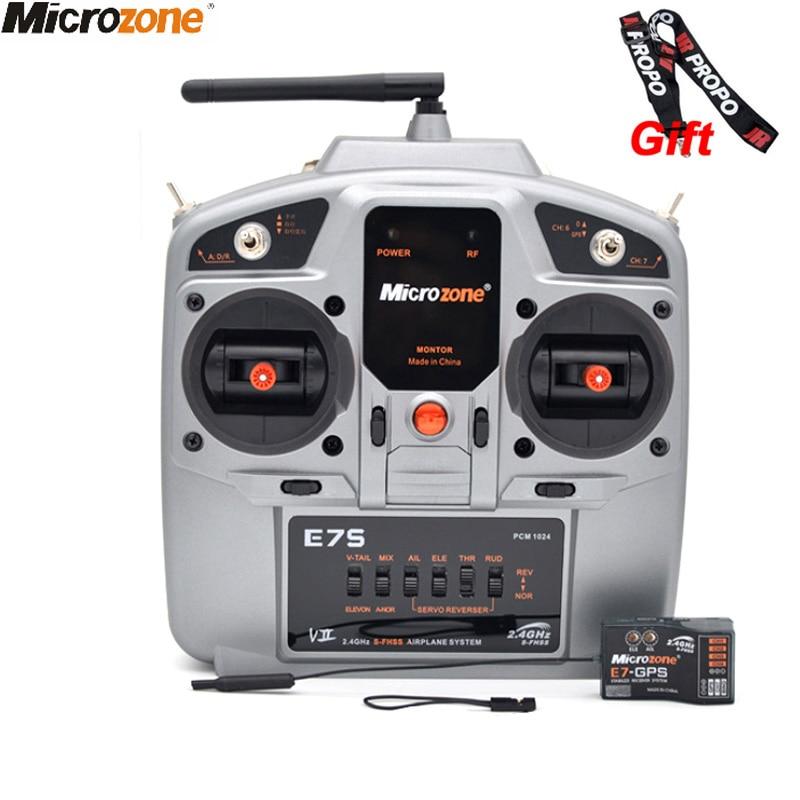 MicroZone MC E7S E7V 2.4G 7CH Controller Transmitter With E7 Receiver Mc-GPS Radio System For SU27 RC Airplane Drone Multirotor
