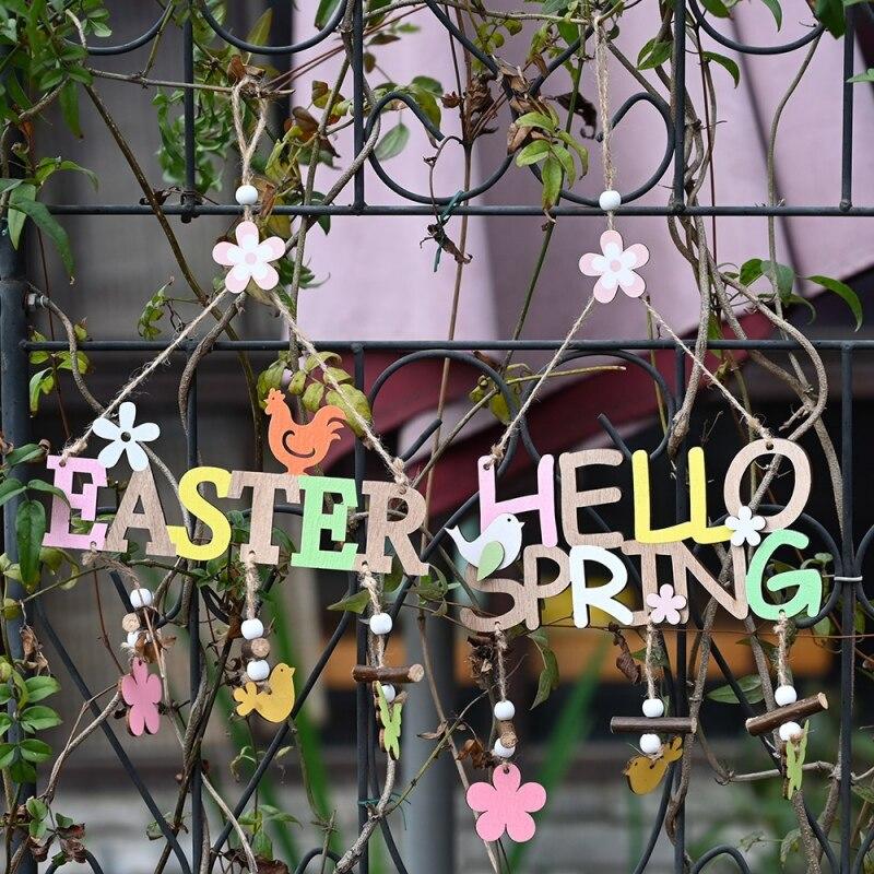 Pascua HELLO SPRING letra de madera signo colgante Pascua decorativo colgante ornamento Hoem fiesta decodificación suministros Conjuntos de vestido de Pascua para niñas, vestido de conejo a rayas, Cartera de conejito a juego, medias y accesorios
